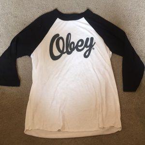 Obey 3/4 sleeve baseball tee